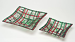 Christmas Confetti Square Glass Basket by Ed Edwards (Art Glass Bowl)