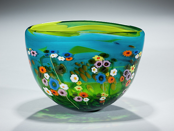Garden Series Bowl in Turquoise and Lime