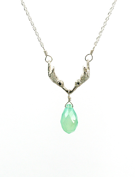 Kissing Hummingbird Necklace with Blue Sapphire & Chalcedony