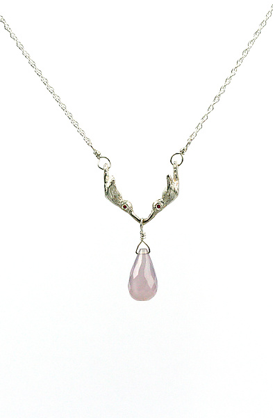 Kissing Hummingbird Necklace with Pink Sapphire & Chalcedony