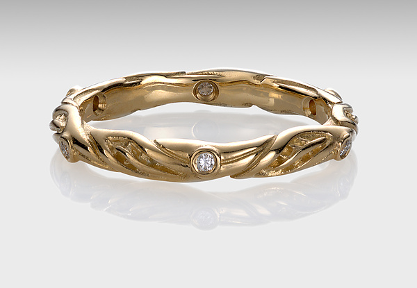 18k Leaf Circlet Ring with Diamonds