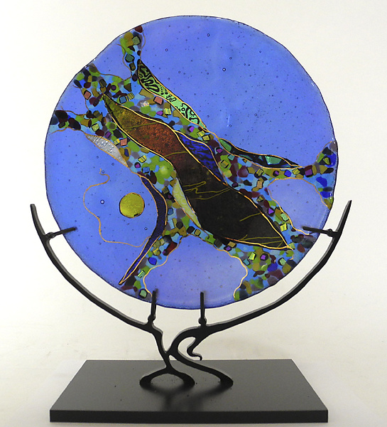 Small Opal Blue Abstract Platter