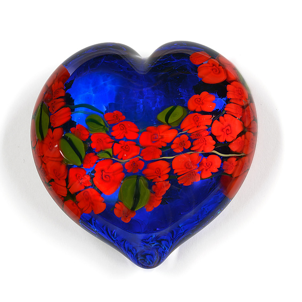 Red Roses Garden Heart on Blue