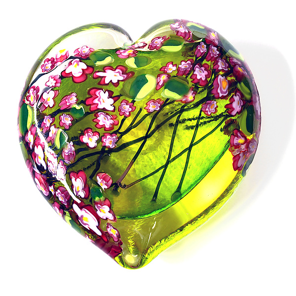 Cherry Blossom Heart Paperweight on Lime