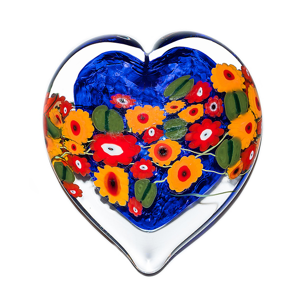 California Poppy on Blue Heart Paperweight