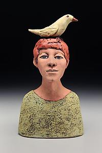 """Boy with Bird"" ceramic sculpture by Ed Byers"