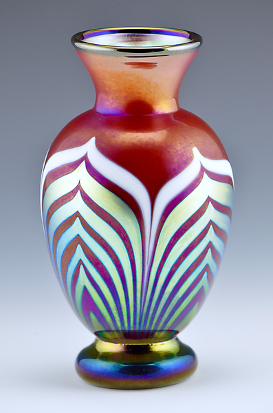 Red and Gold Lustre Footed Vase
