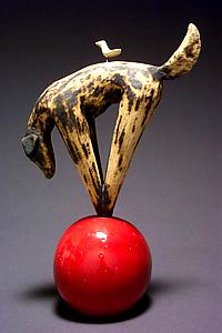 """Play Ball"" ceramic sculpture by Cathy Broski"