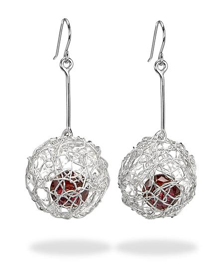 Woven Drop Ball Earrings