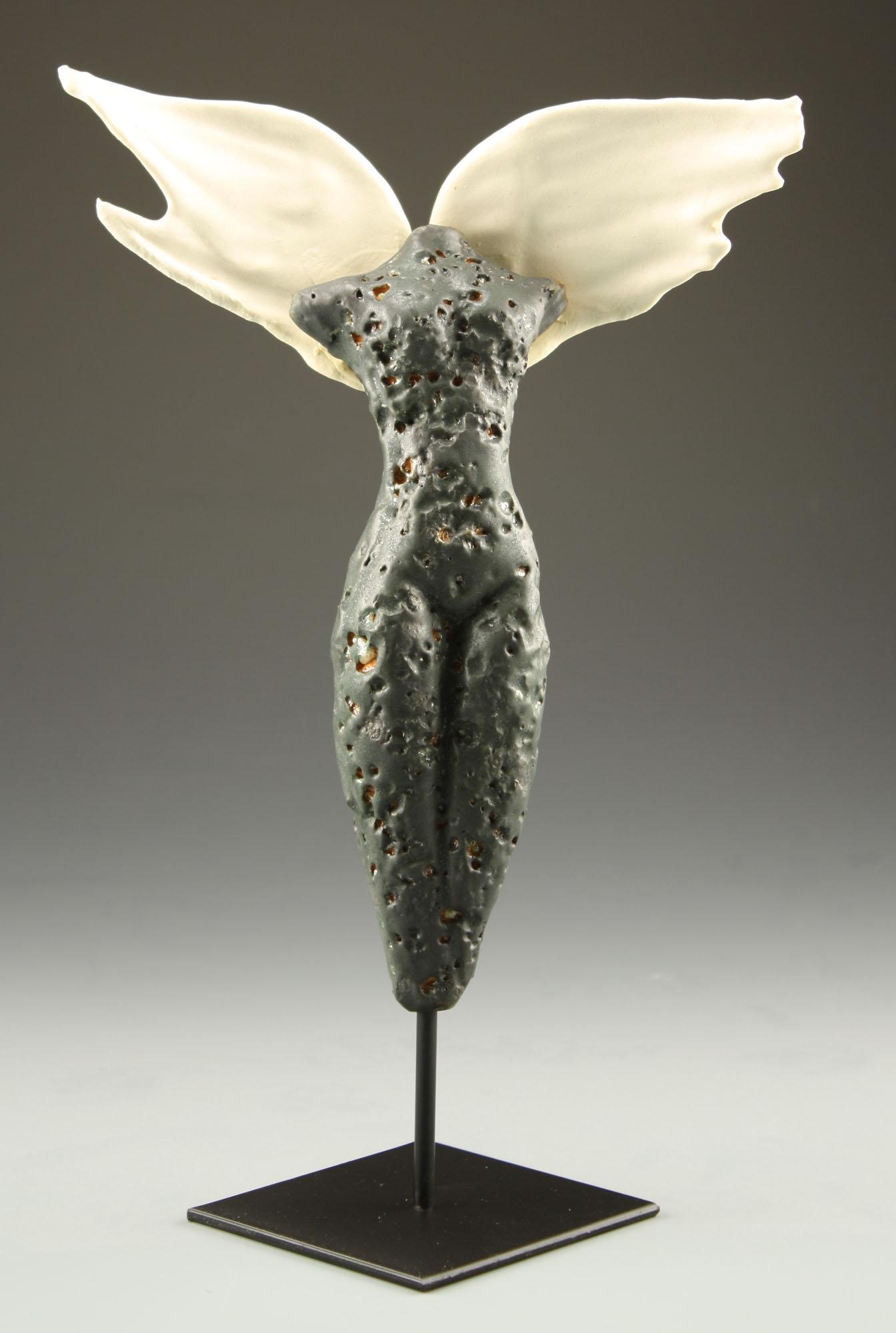 Transcendence: Black Winged Figure by Cathy Broski (Ceramic ...