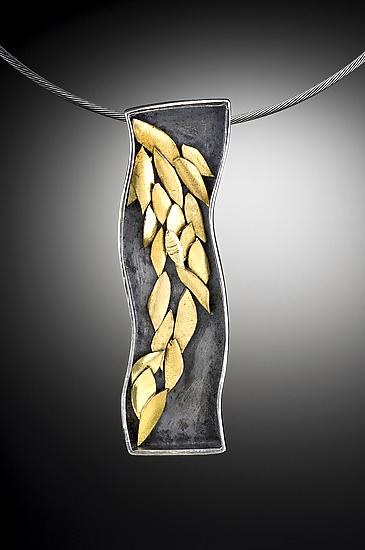 Falling Golden Leaf Necklace: 1