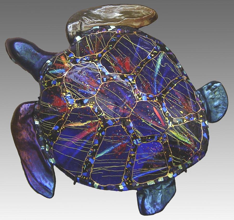 Life Size Sea Turtle By Karen Ehart Art Glass Sculpture