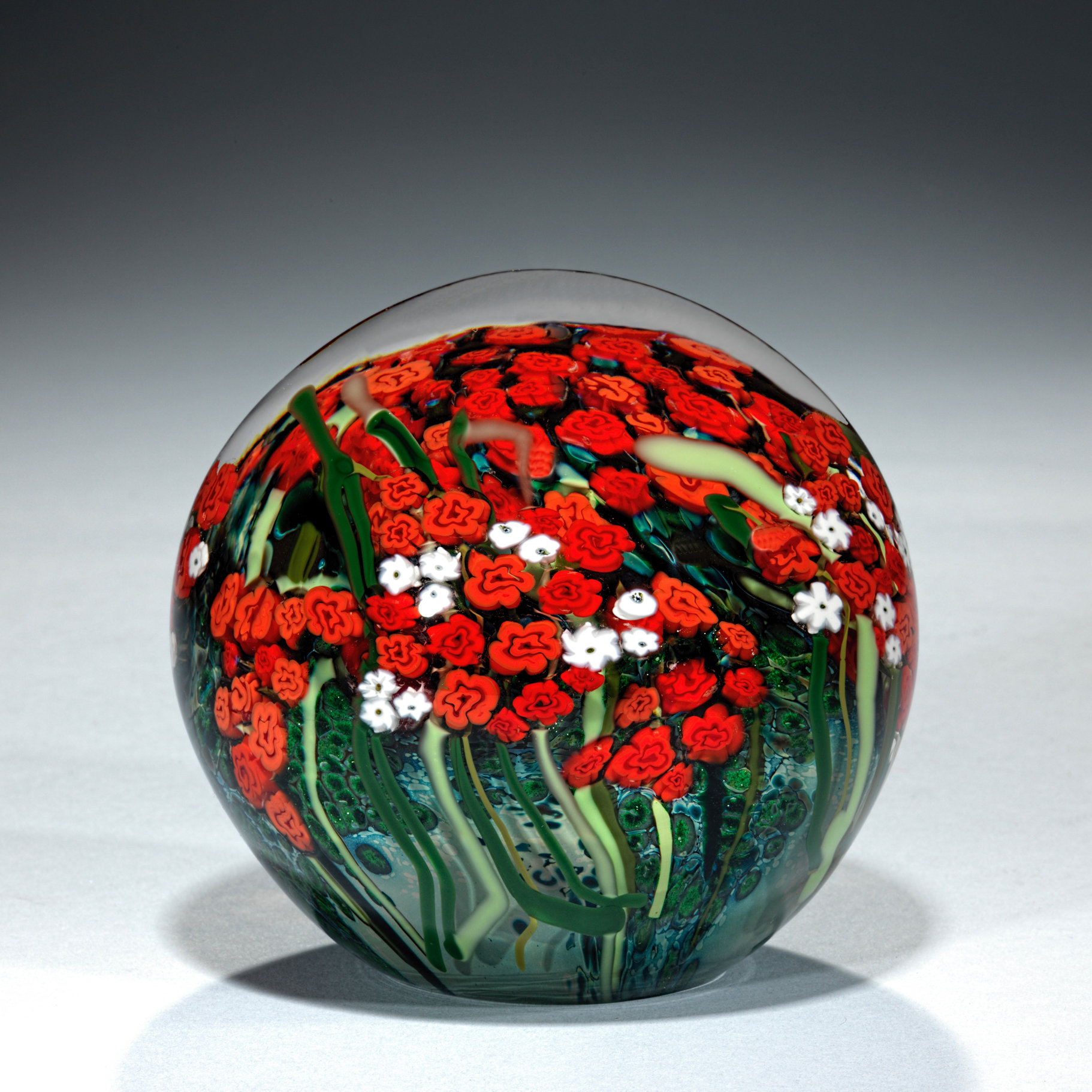 Large Red Rose And Baby's Breath Bouquet Paperweight By