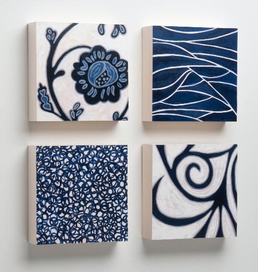 Blossom, Stream, Branch, Pebbles Wooden Tiles