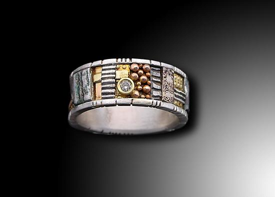 Silver and Gold Mosaic Ring with Diamond