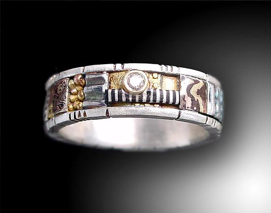 Silver and Gold  Narrow Mosaic Ring with Diamond