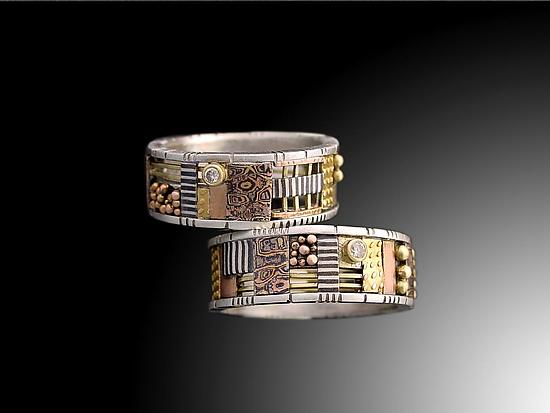 Silver and Gold Cutout Mosaic Ring with One Diamond