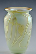 White with Gold Hearts and Vines by Donald  Carlson (Art Glass Vase)