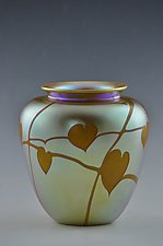 Gold Lustre Vase with Brown Hearts and Vines by Donald  Carlson (Art Glass Vase)