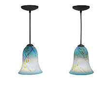 Pair of Sky and Blooms Mini Pendants by Joel and Candace  Bless (Art Glass Pendant Lamps)