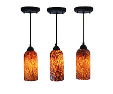 Trio of Sun Dappled Mini Pendants by Joel and Candace  Bless (Art Glass Pendant Lamps)