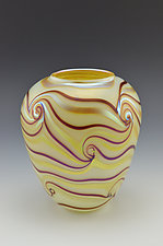 Miniature Private Collection White Vase by Donald  Carlson (Art Glass Vase)