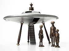 Flying Saucer with Alien Family by Scott Nelles (Metal Sculpture)