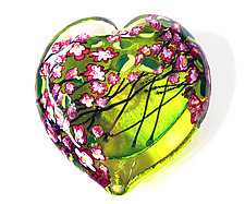 Cherry Blossom Heart Paperweight on Lime by Shawn Messenger (Art Glass Paperweight)