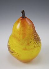 Yellow Pear Paperweight by Shawn Messenger (Art Glass Paperweight)