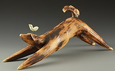 Down Dog with Bird on Head by Cathy Broski (Ceramic Sculpture)