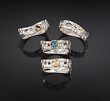 Skinny Woven Basket Rings by Chi Cheng Lee (Gold, Silver, & Stone Ring)