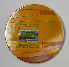 Amber Window Round by Lynn Latimer (Art Glass Wall Sculpture)