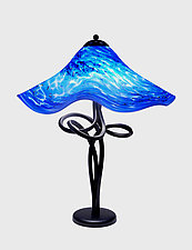 Blue Danube Fluted Spiral Lamp by Joel and Candace  Bless (Art Glass Table Lamp)