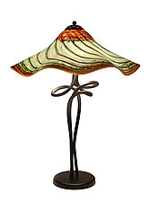 Woodlands Fluted Spiral Lamp by Joel and Candace  Bless (Art Glass Table Lamp)