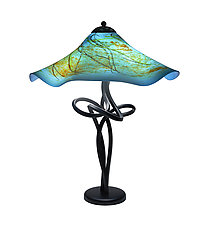 Bay Blue Fluted Spiral Lamp by Joel and Candace  Bless (Art Glass Table Lamp)