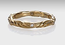 18k Leaf Circlet Ring with Diamonds by Conni Mainne (Gold Ring)