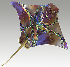 Ruby Eagle Ray by Karen Ehart (Art Glass Wall Sculpture)