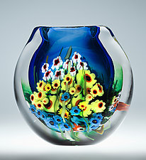 Landscape Series Vase Blue by Shawn Messenger (Art Glass Vase)