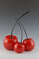 Tilted Cherries by Donald  Carlson (Art Glass Sculpture)
