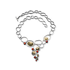 Open Pebbles Necklace with Fire Opals by Lori Gottlieb (Gold, Silver & Stone Necklace)