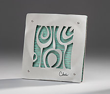 Modern Botanical Tile Mini by Cherie Haney (Metal Wall Sculpture)