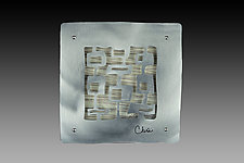 7'' Tile With Square Motif by Cherie Haney (Metal Wall Sculpture)