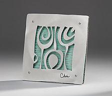 Modern Botanical Tile Mini by Cherie Haney (Metal Wall Sculpture)
