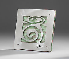"""7"""" Tile With Spiral Motif by Cherie Haney (Metal Wall Sculpture)"""