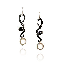 Vines & Tendrils VI by Valerie Ostenak (Steel & Pearl Earrings)