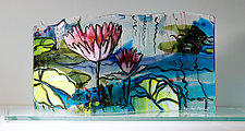 Floating Blossoms by Alice Benvie Gebhart (Art Glass Sculpture)
