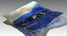 Cobalt Wrinkle Platter by Alice Benvie Gebhart (Art Glass Platter)