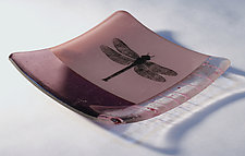 Dragonfly Mauve by Alice Benvie Gebhart (Art Glass Dish)