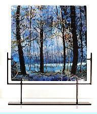 Blue Velvet Morning by Alice Benvie Gebhart (Art Glass Sculpture)