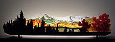 Early Snow on Mt. Katahdin by Bernie Huebner and Lucie Boucher (Art Glass Sculpture)